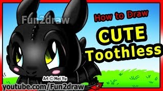 getlinkyoutube.com-How to Draw Toothless - How to Train Your Dragon - Night Fury - Fun2draw Cartoons