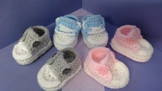 getlinkyoutube.com-How to crochet my easy petite baby converse style slippers part 2