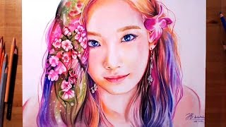 getlinkyoutube.com-Tae Yeon(SNSD) with spring 소녀시대 태연 Pastel Drawing | drawholic