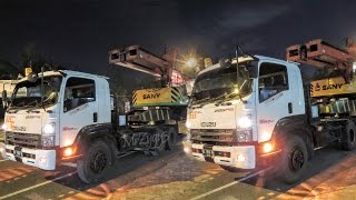 getlinkyoutube.com-Heavy Haulage Truck Isuzu GIGA Moving Unloading Two Drilling Rig SANY SR150C