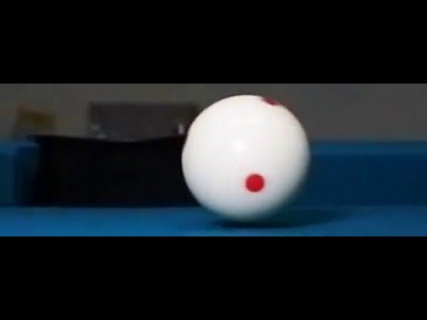 Billiards Follow shot (top spin) in slow motion video 1