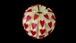 getlinkyoutube.com-Apple Beautiful Heart Unique Design - Int Lesson 14 By Mutita Art Of Fruit And Vegetable Carving