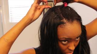"getlinkyoutube.com-Tutorial SEW-IN: Blending My Short Natural Hair with Jet Black 26"" Sleek Extentions