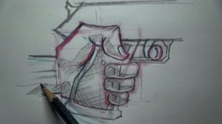 How To Draw Hand Holding A Gun - Tutorial