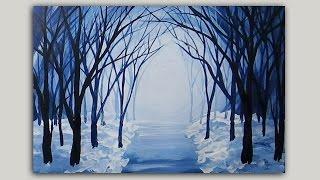 getlinkyoutube.com-Acrylic Painting Snowy Winter Forest Path