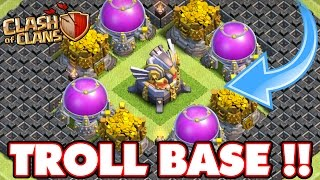 getlinkyoutube.com-Clash Of Clans | INCREDIBLE EAGLE ARTILLERY TROLL BASE!!! Town Hall 11 Max Troll Base!