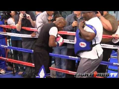 Floyd Mayweather vs. Robert Guerrero: Mayweather full mitt workout w/Roger Mayweather
