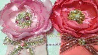 getlinkyoutube.com-Tiara de media  con rosa de satin centro de cuentas   VIDEO No. 183