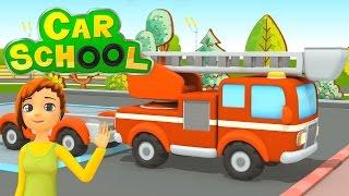 getlinkyoutube.com-NUOVO! Car school   Una nuova sfida per il grande camion dei pompieri   Cartoni animati per bambini