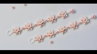 getlinkyoutube.com-PandaHall Video Tutorial on How to Make Flower Bracelet with Pearl Beads and Seed Beads