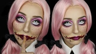 getlinkyoutube.com-Creepy Doll With Stitched Mouth Halloween Makeup Tutorial