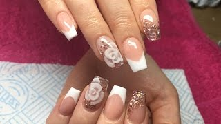 getlinkyoutube.com-Acrylic Nails   Pink And White French ~ Encapsulated Rose