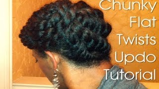 getlinkyoutube.com-(19) Natural Hair Protective Style ~ Chunky Flat Twists Updo