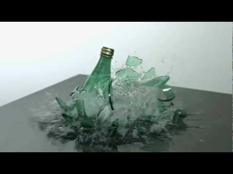 Bottle Breaking Slow Motion HD a Green Glass Mineral Water Bottle Dropping  Shattering in Slow Mo