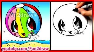 getlinkyoutube.com-How to Draw Easy Things - Kawaii Summer - Beach Ball - Fun2draw Cartoon Art Lessons