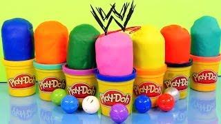 getlinkyoutube.com-PLAY DOH Surprise Eggs WWE Mashems Toy Wrestlers The Rock John Cena Undertaker Play Dough