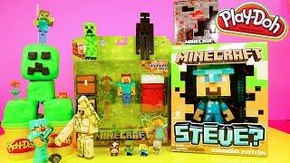 getlinkyoutube.com-Minecraft Play Doh Creeper Surprise Toy Giant Diamond Steve Red Ore Night Light Disney Cars Toy Club