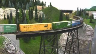 getlinkyoutube.com-BN HO Scale Layout Model Railroad Train Video - HD JAN 2011