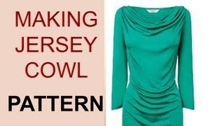 getlinkyoutube.com-Stretch Jersey Cowl Neck Top Pattern / BASIC PATTERN TO COWL NECK