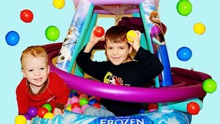 getlinkyoutube.com-GIANT Frozen Surprise BALL PIT For AllToyCollector's Baby Elsa & Anna Peppa Pig Monster Truck Toys