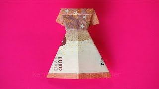 getlinkyoutube.com-Geldschein falten: Kleid zum Geldgeschenke basteln z.B. zur Hochzeit - Origami Kleidung