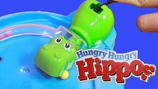 getlinkyoutube.com-HUNGRY HUNGRY HIPPOS Game Eating Hippo Chomping Kids Toys Family Game AllToyCollector Challenge