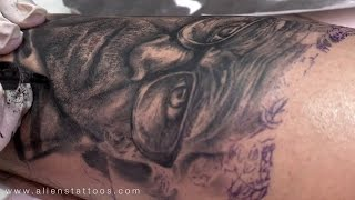 getlinkyoutube.com-Making of Portrait Tattoo of Old Man - Tattoo workshop on photo-realism tattoo art