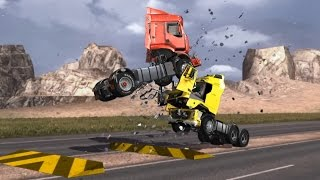 getlinkyoutube.com-Part 1 - Volvo FH VS Renault Premium - Crash Test - Head-on collision/Side impact