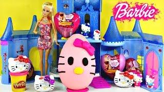 BARBIE HELLO KITTY Surprise Heart Eggs Giant Toy Play Doh Egg Juguetes de Huevo Sorpresa
