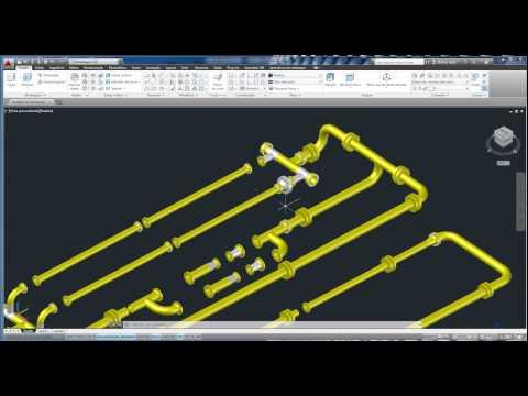 Montagem industrial de tubos, flanges e válvulas ( 18 e 24 polegada ) em 3 D