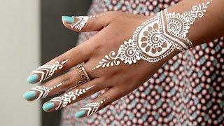 getlinkyoutube.com-DIY How to Apply White Henna/ Body Paint Temporary Tattoo Tutorial 9 - Samira Henna Art
