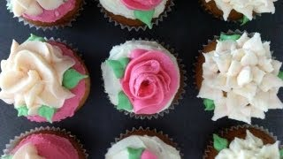 getlinkyoutube.com-Ann's NEW easy buttercream roses flower cupcakes pt1 how to cook that ann reardon
