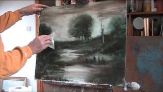 """getlinkyoutube.com-""""Dusk.""""  Oil painting using 2 colours and linseed oil"""
