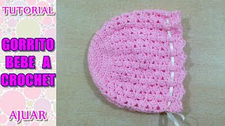 getlinkyoutube.com-Cómo tejer gorrito para bebé a crochet, ganchillo AJUAR