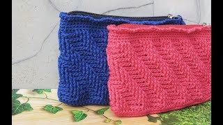 Crochet || Tutorial Dompet Rajut Motif Garis Miring - Gamir Stitch (with Written English Pattern)