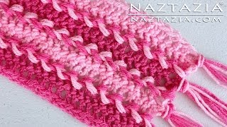 getlinkyoutube.com-DIY Learn How To Make Hairpin Lace Crochet Scarf - Loom Fork Horquilla Hair Pin Braid Braided Weave