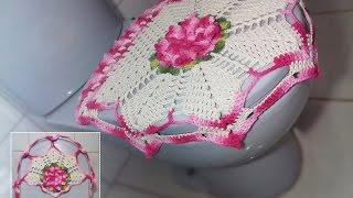 getlinkyoutube.com-Jogo de Banheiro em crochê - Tampa do Vaso # Flor Jade