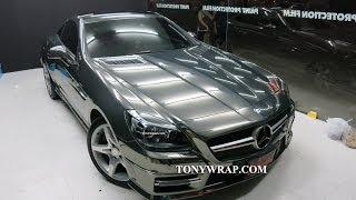 getlinkyoutube.com-Black Smoked Chrome Wrapped  Mercedes-Benz SLK Tony Wrap Supercar Society Wrap Car Thailand