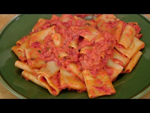 Pasta with Cream and Pancetta - Laura Vitale Recipe - Laura in the Kitchen Episode 232