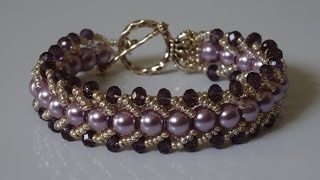 getlinkyoutube.com-How to make a beautiful and easy pearl bracelet- flat spiral stitch