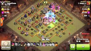 getlinkyoutube.com-Clan war 3 stars max TH10 with 2 golem 8 witch