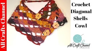 getlinkyoutube.com-Easy to Crochet diagonal shells cowl (Subtitulos en Español) - Yolanda Soto Lopez