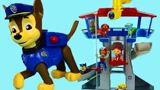 getlinkyoutube.com-Paw Patrol Lookout Playset Marshall Chase Rocky Rider Skye Zuma Rubble Wheels on the bus school bus