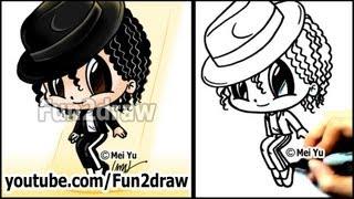 getlinkyoutube.com-Michael Jackson Cartoon Drawing Lesson - How to Draw People Tutorial