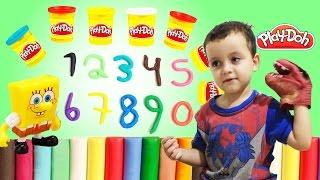getlinkyoutube.com-Aprendendo a Contar Números com Play Doh Bob Esponja e Dinossauro Learn Numbers & Colors