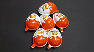 getlinkyoutube.com-6 Kinder Joy Surprise Eggs with Toys from Germany