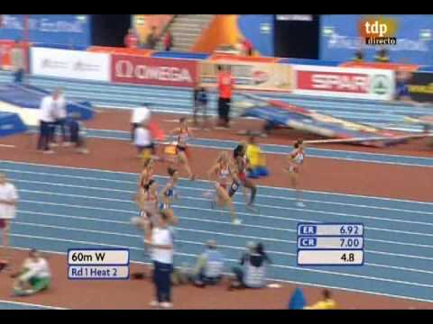 European Athletics Indoor Championships Torino 2009 60m Women rounds 2 POLYAKOVA 7,30 RECIO 7,58