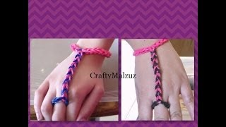 getlinkyoutube.com-Pulsera De Gomitas  Anillo con Pulsera sin telar/ How to make the finger bracelet with rubber bands
