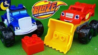 getlinkyoutube.com-Blaze and the Monster Machines Toys Mega Bloks Blaze Crusher Mix & Match Monster Trucks Mashup Toys