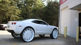 getlinkyoutube.com-WhipAddict: Underground Rim King Shop; Dodge Magnum SRT8 and Chevy Camaro on 32s, Malibu on 28s